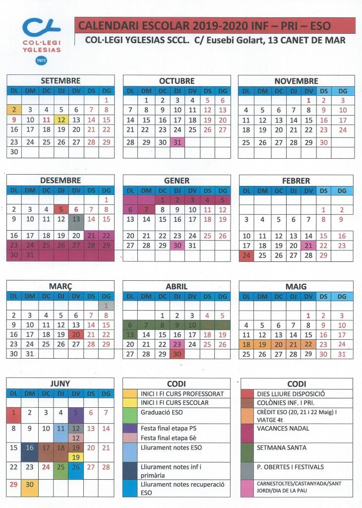 2019-2020 Calendario Escolar