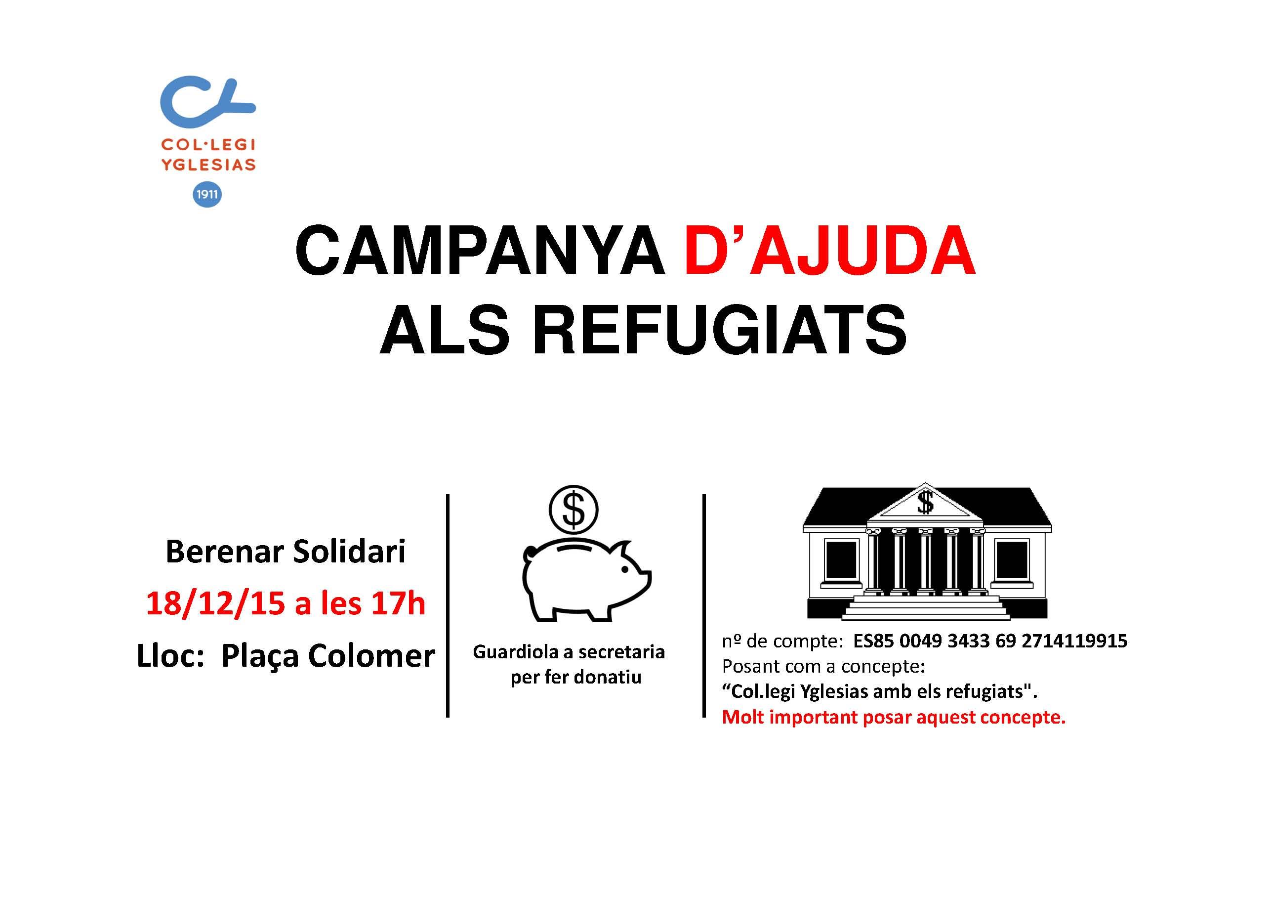 Cartell CAMPANYA D'AJUDA refugiats